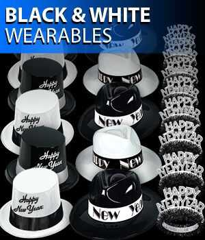 black and white new years eve wearable party supplies
