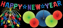 bright colored New Year's Eve decorations in bulk