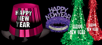 bright colored nye hats and tiaras