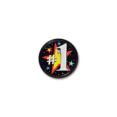 #1 Blinking Black Button with a Yellow Star outlined in Red and a bold #1