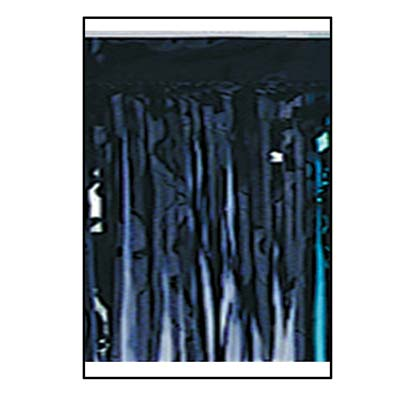1-Ply Black Metallic Fringe Drape made with shiny material.