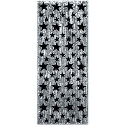 Silver metallic material curtain with various sized black stars attached.