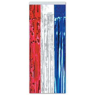 Red, Silver and Blue Patriotic Doorway Curtain made of metallic strands