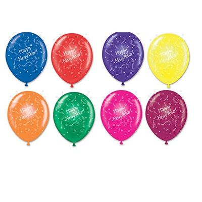"Assorted latex balloons with ""Happy New Year"" and confetti imprinted in white."