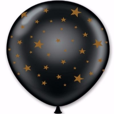 black balloon with gold star