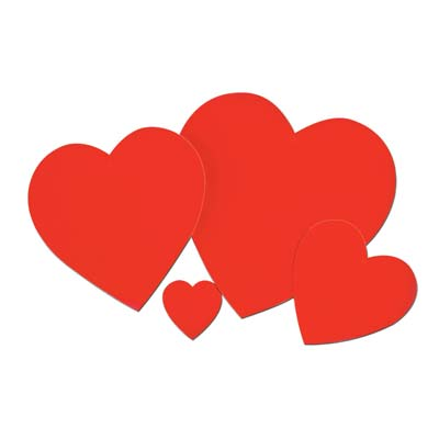 "12"" Printed Red Heart Cutout wall decorations"