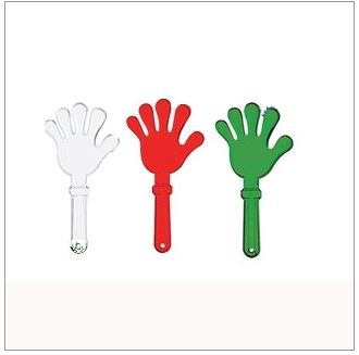 Various color options of plastic hand clappers.