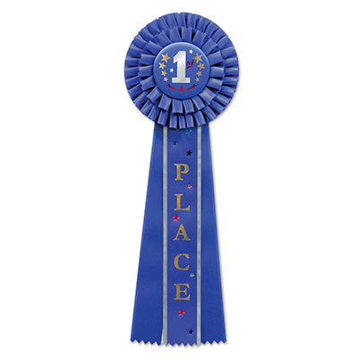 Blue 1st Place Deluxe Rosette with silver lettering and stars