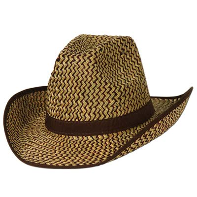 Two toned western straw hat of light brown and brown with brow band and trim.