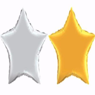 gold and silver mylar star balloons