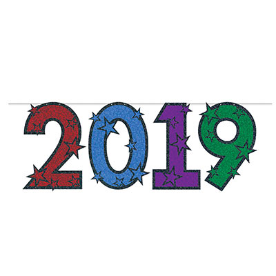 Streamer for 2019 in the colors red, blue, purple and green to match a multi-colored party.