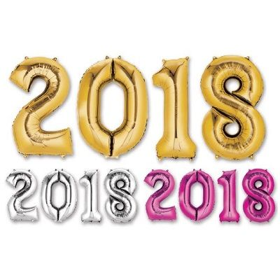 """2018"" Mylar Balloons - SELECT A COLOR 2018, Number Balloons, Letter Balloons, Gold, Mylar Balloons, Wholesale party supplies, Inexpensive decorations, Cheap, Bulk, Party decorations, New Years Eve, NYE, Balloons"