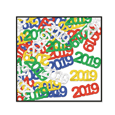 2019 shaped colorful confetti pieces.