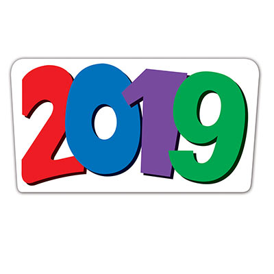 Year 2019 cutout with each number either red, blue, purple, or green.