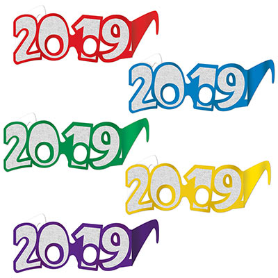 2019 cardstock glasses in the colors purple, yellow, green, blue, and red with silver glitter outlining the numbers.