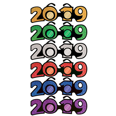 Year 2019 New Years Eve glittered shaped glasses in multiple colors
