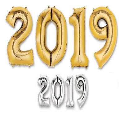 """2019"" Mylar Balloons - SELECT A COLOR 2018, Number Balloons, Letter Balloons, Gold, Mylar Balloons, Wholesale party supplies, Inexpensive decorations, Cheap, Bulk, Party decorations, New Years Eve, NYE, Balloons"