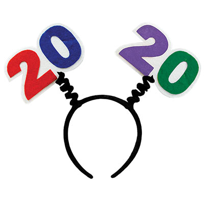 "Black boppers with ""2020"" attached in multi-colors of red, blue, purple and green."