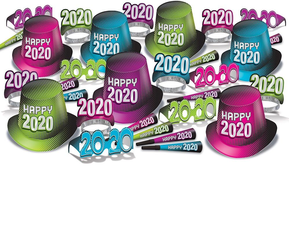 2020 Bright Color New Years Eve Party Kit for 50 2020 Bright Color New Years Eve Party Kit, 2020, bright color, cerise, blue, green, new years eve, party kit, hat, tiara, horn, eyeglasses, wholesale, inexpensive, bulk, party favor