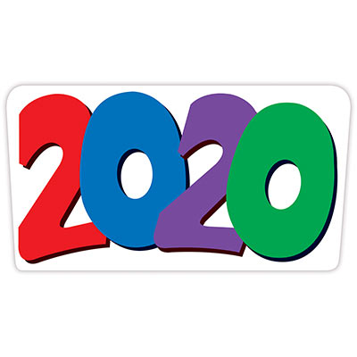 The 2020  Cutout is a multi-color decoration that is red, blue, purple and green.