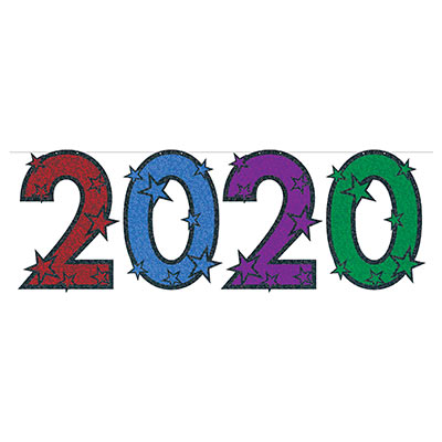 """2020"" Glittered Colorful Streamer for New Years Eve Hanging decoration"