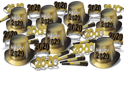 2020 Gold New Years Eve Party Kit for 50 2020 Gold New Years Eve Party Kit for 50, 2020, hat, tiara, party horns, horns, eyeglasses, party favor, new years eve, gold, black, wholesale, inexpensive, bulk