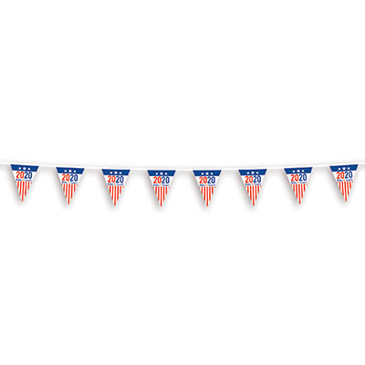 """2020"" Make It Count! Pennant Banner with patriotic colors and stars and stripes."