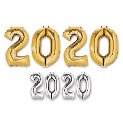 """2020"" Mylar Balloons - SELECT A COLOR 2020, Number Balloons, Letter Balloons, Gold, Mylar Balloons, Wholesale party supplies, Inexpensive decorations, Cheap, Bulk, Party decorations, New Years Eve, NYE, Balloons"
