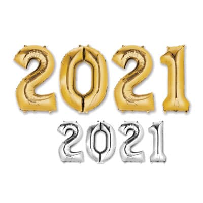 """2021"" Mylar Balloons - SELECT A COLOR 2021, Number Balloons, Letter Balloons, Gold, Mylar Balloons, Wholesale party supplies, Inexpensive decorations, Cheap, Bulk, Party decorations, New Years Eve, NYE, Balloons"