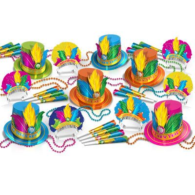 Rio Assortment New Years Eve Party Kit for 50 Rio Assortment New Years Eve Party Kit for 50, 2021, bright color, cerise, blue, green, orange, yellow, feathers, beads, jewels, new years eve, party kit, hat, tiara, horn, eyeglasses, wholesale, inexpensive, bulk, party favor