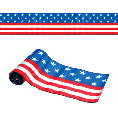 Satin Patriotic Table Runner with stars and stripes.