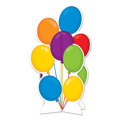 Card stock centerpiece printed with multi-colored balloons.