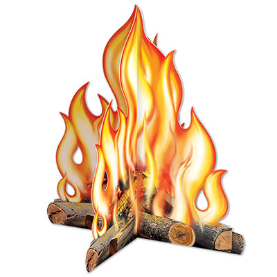 The 3-D Campfire Centerpiece is printed with great detail displaying a campfire on card stock material.