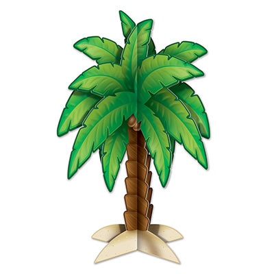 Green 3-D Palm Tree Centerpiece for a Luau party