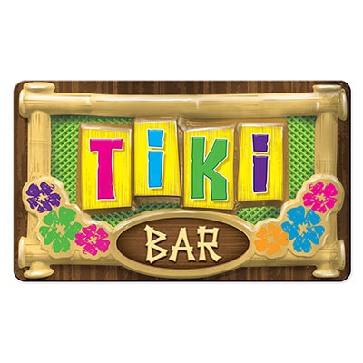 3-D Plastic Tiki Bar Sign for a luau themed party