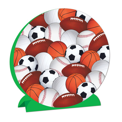 3-D Sports Centerpiece is printed with baseballs, basketballs, footballs, and soccer balls.
