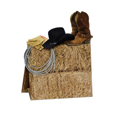 Western Centerpiece is designed to replicate a bale of hay, cowboy boots, hats and gloves.