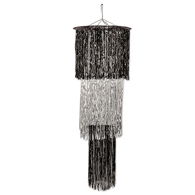 The 3-Tier Shimmering Chandelier is made of metallic black and silver material.