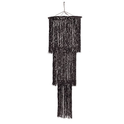 The 3-Tier Shimmering Chandelier is made of metallic black material.