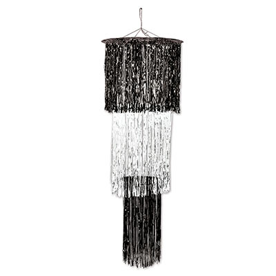 The 3-Tier Shimmering Chandelier is made of metallic black and whitematerial.