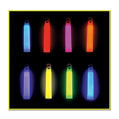 Assorted colored four inch glow sticks with necklace hole.