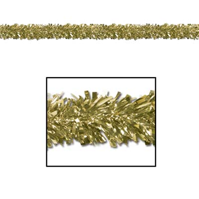 Gold metallic festooning garland used for decoration.