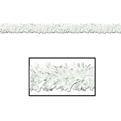 White metallic festooning garland used for decoration.
