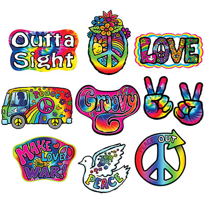 Cutouts for the 1960s of bright colors, peace signs, Volkswagen, and more.