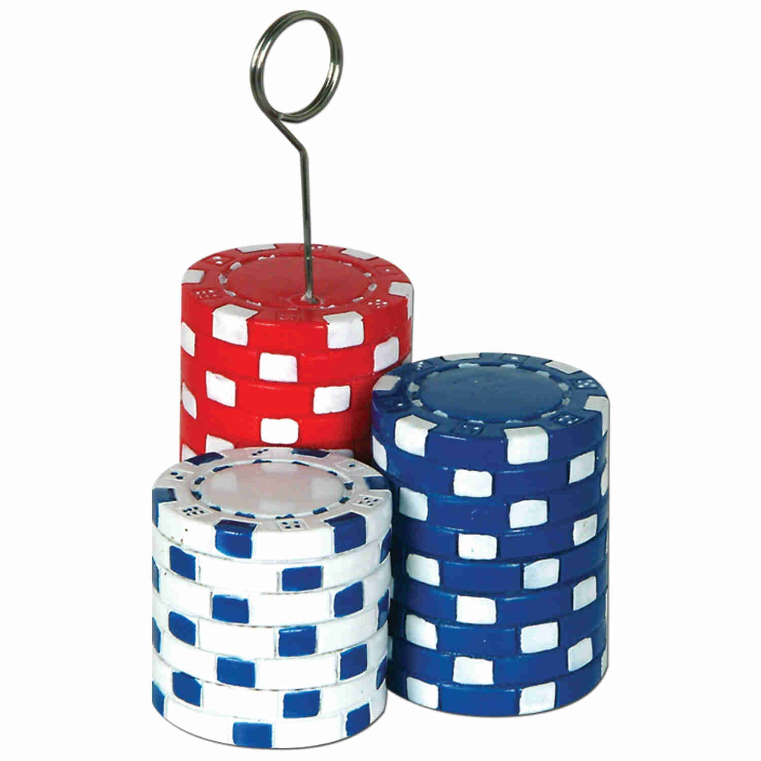 balloon weight in the shape of stacked red white and blue poker chips