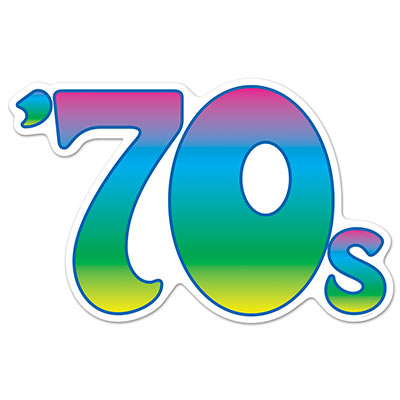 "Cutout printed with bright colors and designed to read ""70s""."