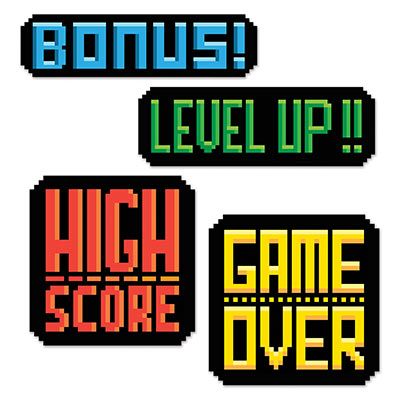 8-Bit Action Sign Cutouts made of card stock material with bright color printing and gaming slang.