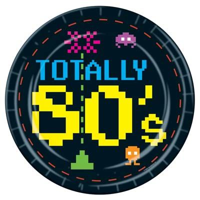 Totally 80s Plates black with bright pixel lettering