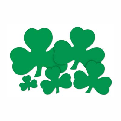 Assorted sized shamrocks printed in solid green on both sides.