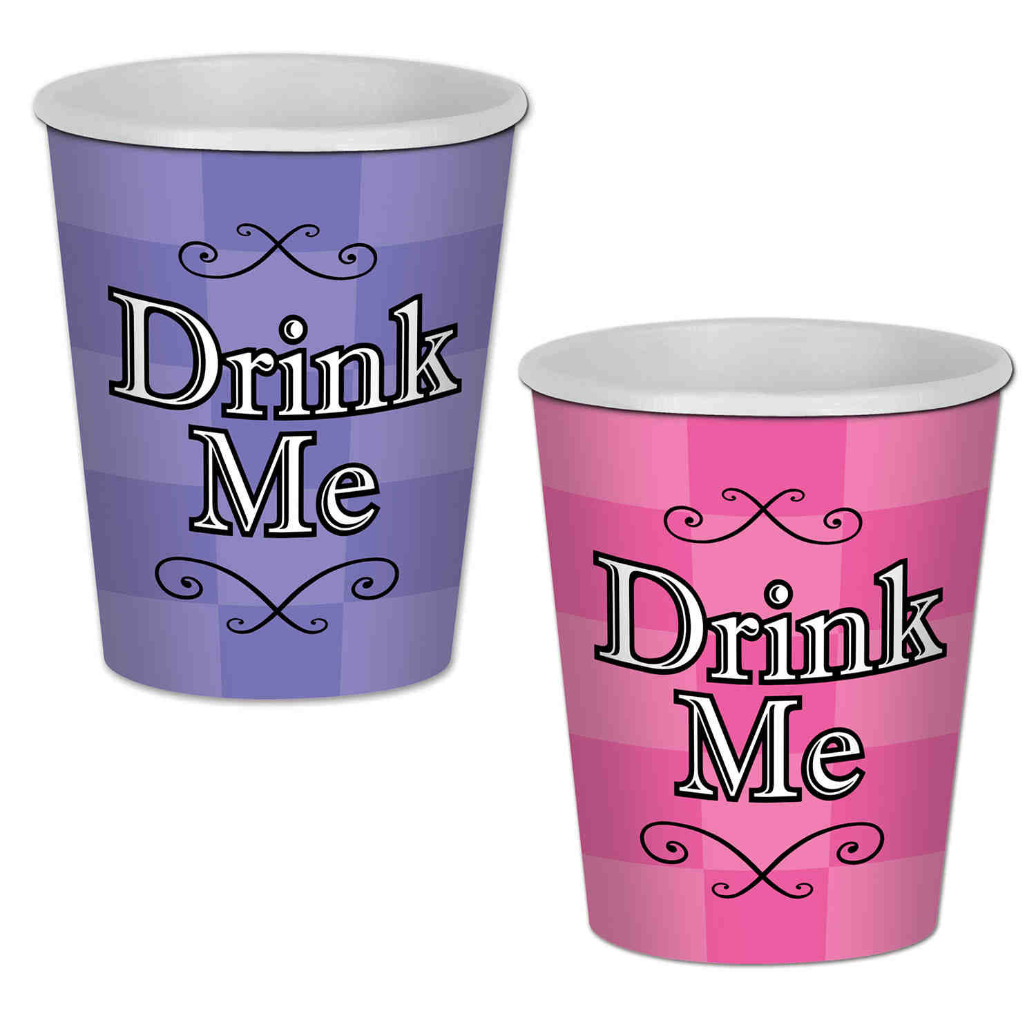 Purple and Pink Alice In Wonderland Beverage Cups